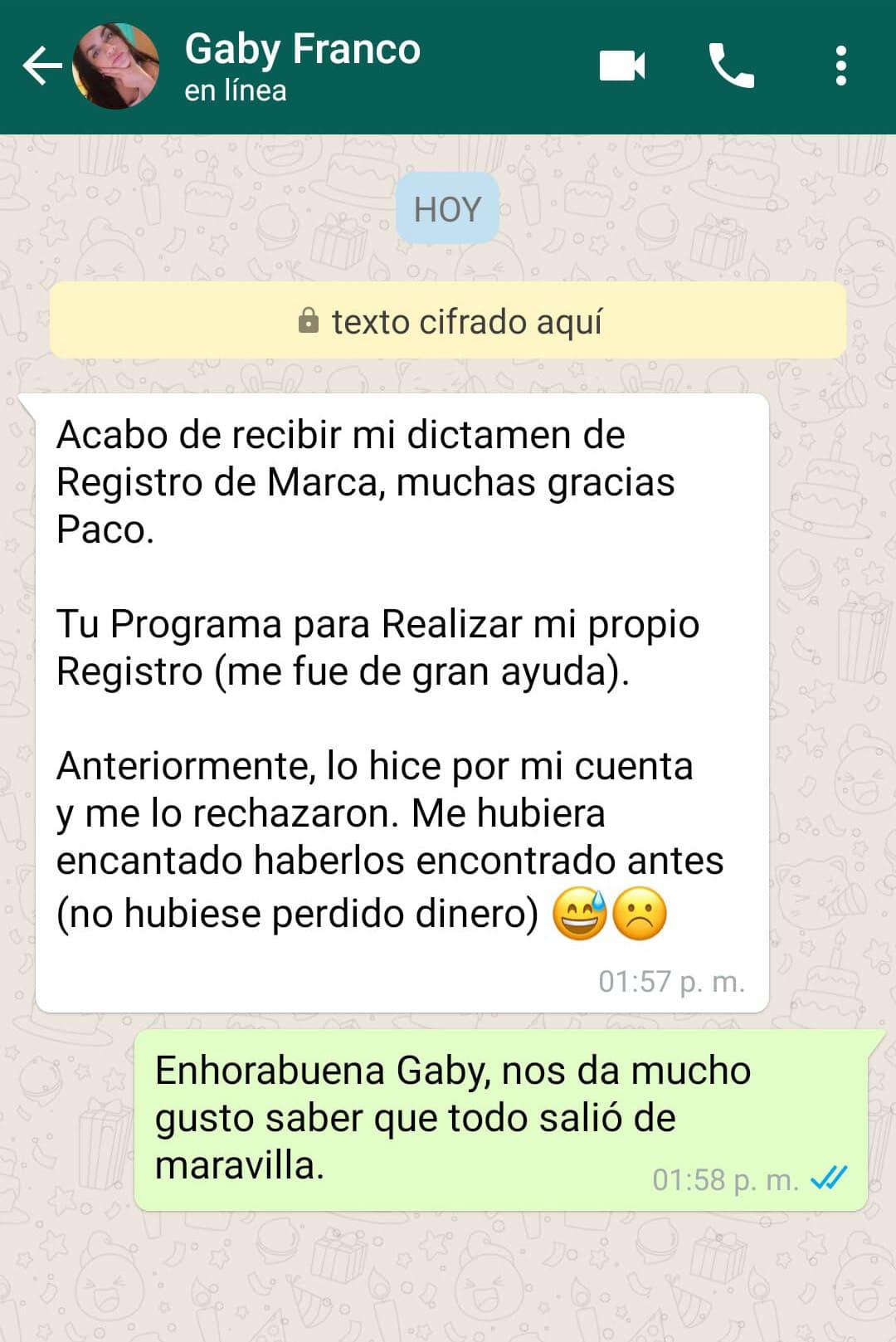 Registro de Marca Testimonio GabyF